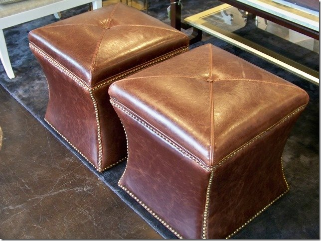 Brown Leather Ottomans