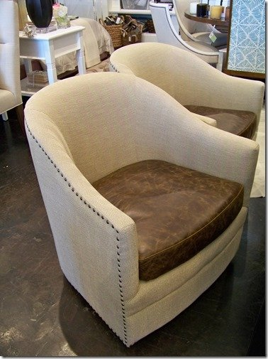 Swivel Chair with Leather Seat