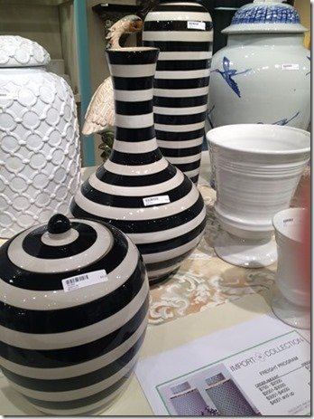 black and white stripe vases