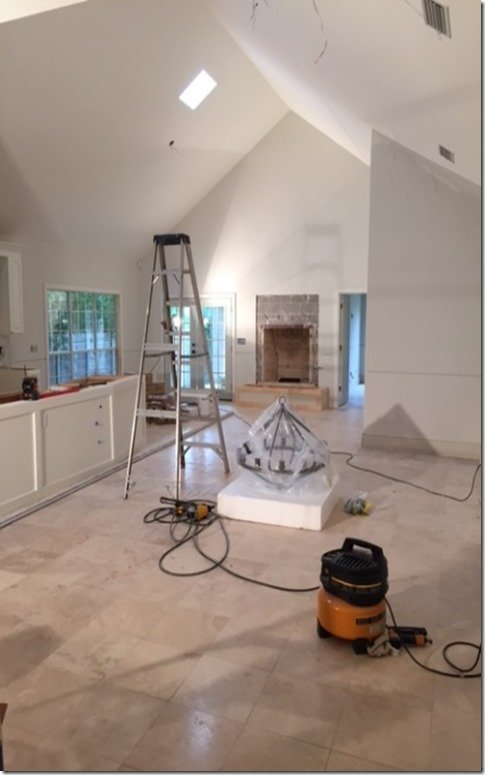 millwork and stone during construction