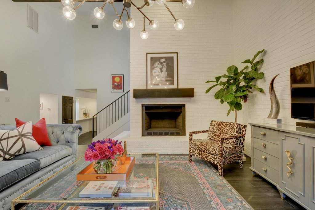 Family room, fireplace